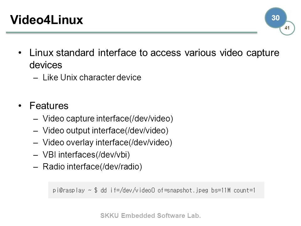 SKKU Embedded Software Lab. 41 30 Linux standard interface to access various video capture devices –Like Unix character device Features –Video capture