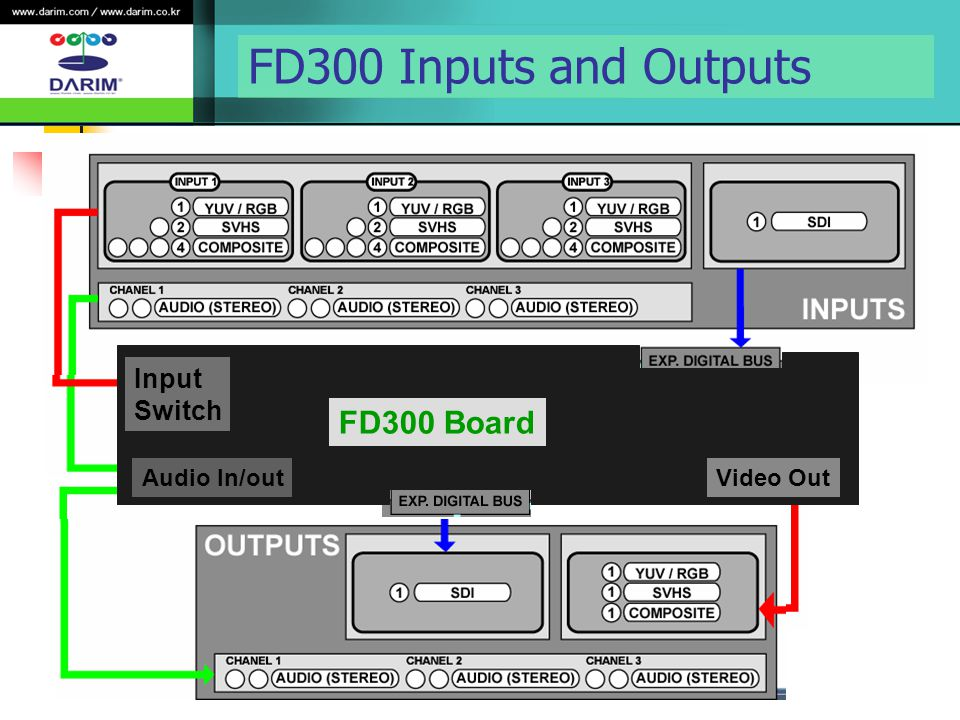 FD300 Inputs and Outputs FD300 Board Input Switch Audio In/out Video Out