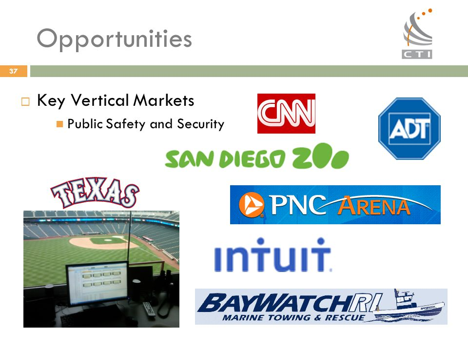 37 Opportunities  Key Vertical Markets Public Safety and Security