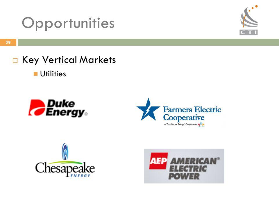 39 Opportunities  Key Vertical Markets Utilities