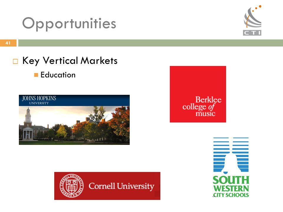 41 Opportunities  Key Vertical Markets Education