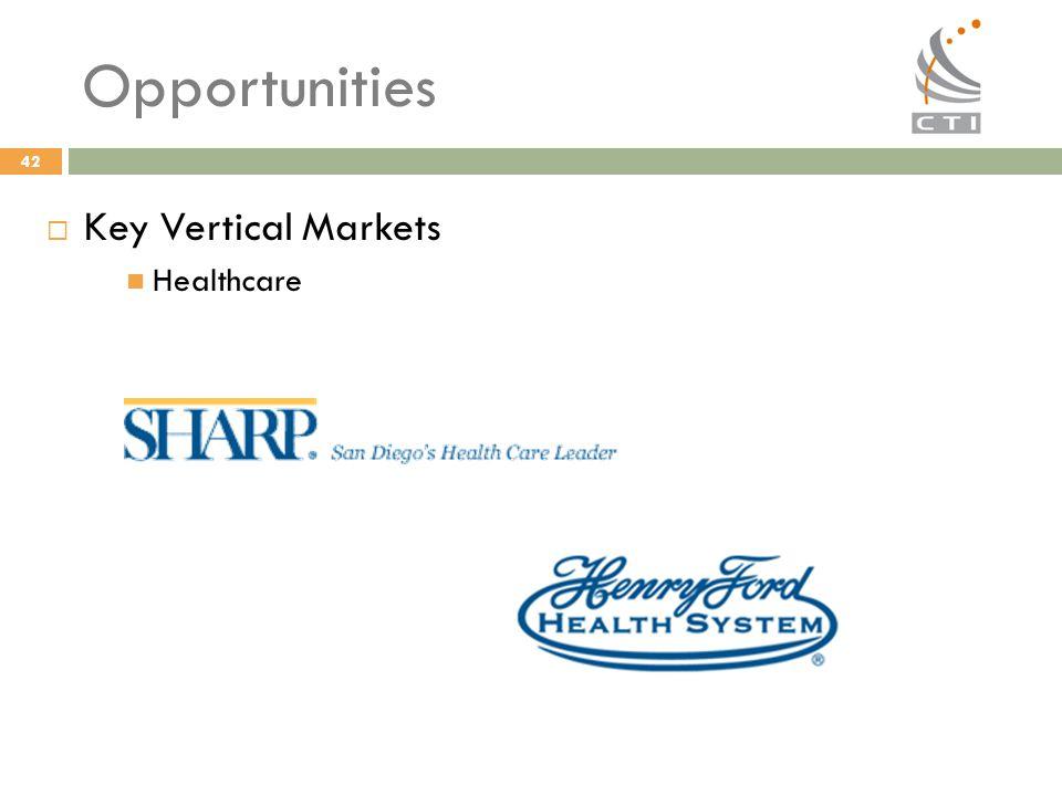 42 Opportunities  Key Vertical Markets Healthcare
