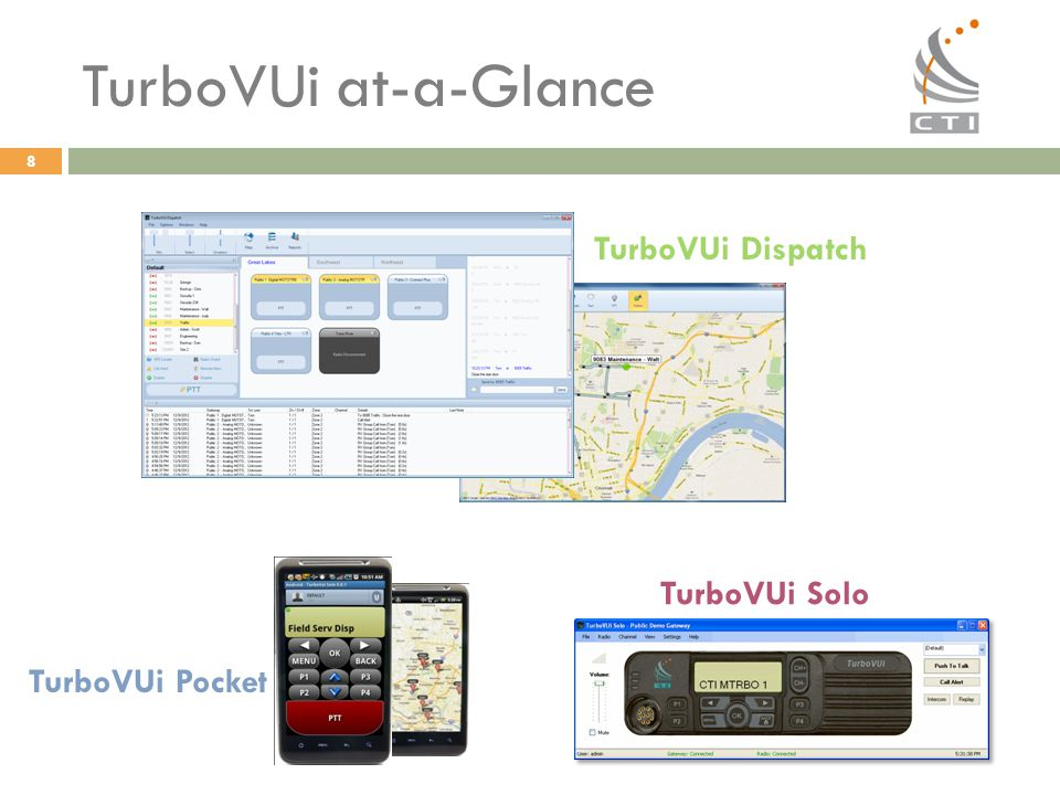 8 TurboVUi at-a-Glance TurboVUi Dispatch TurboVUi Solo TurboVUi Pocket