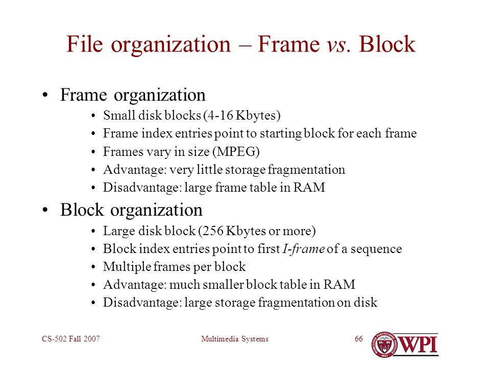 Multimedia SystemsCS-502 Fall 200766 File organization – Frame vs.