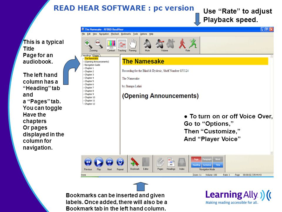 READ HEAR SOFTWARE : pc version This is a typical Title Page for an audiobook.
