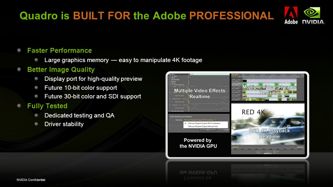 NVIDIA Confidential Quadro is BUILT FOR the Adobe PROFESSIONAL Faster Performance Large graphics memory — easy to manipulate 4K footage Better Image Quality Display port for high-quality preview Future 10-bit color support Future 30-bit color and SDI support Fully Tested Dedicated testing and QA Driver stability