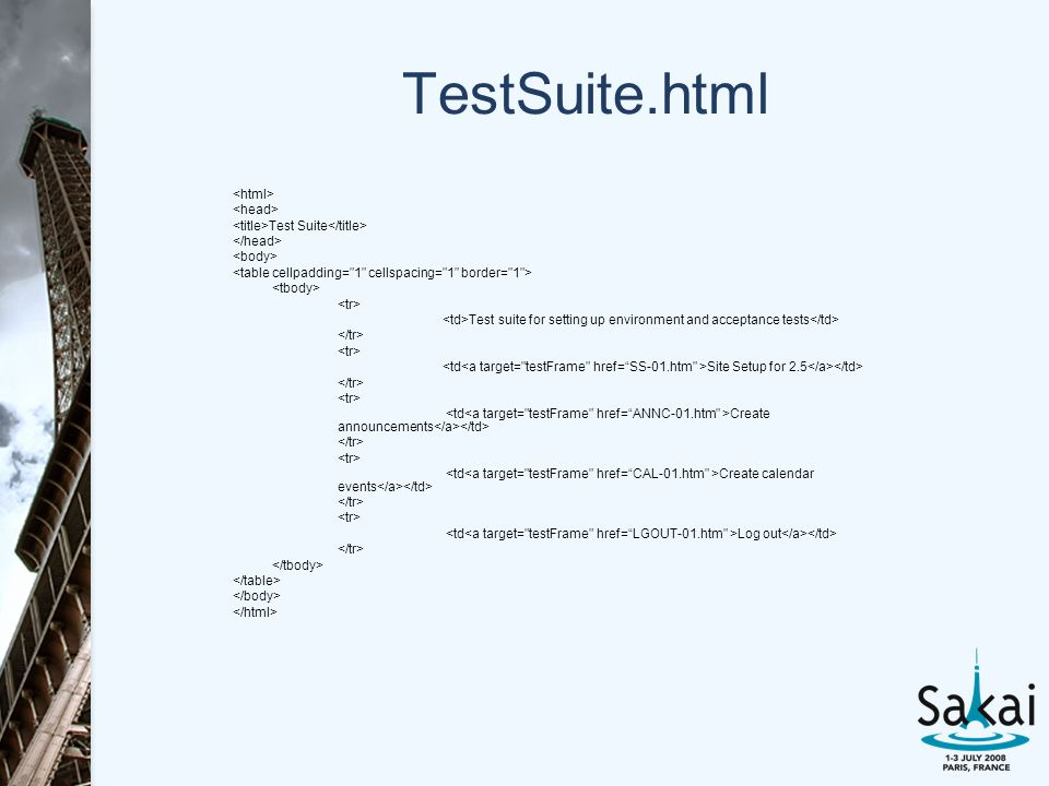 TestSuite.html Test Suite Test suite for setting up environment and acceptance tests Site Setup for 2.5 Create announcements Create calendar events Log out