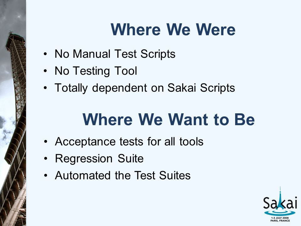 Where We Want to Be No Manual Test Scripts No Testing Tool Totally dependent on Sakai Scripts Where We Were Acceptance tests for all tools Regression Suite Automated the Test Suites