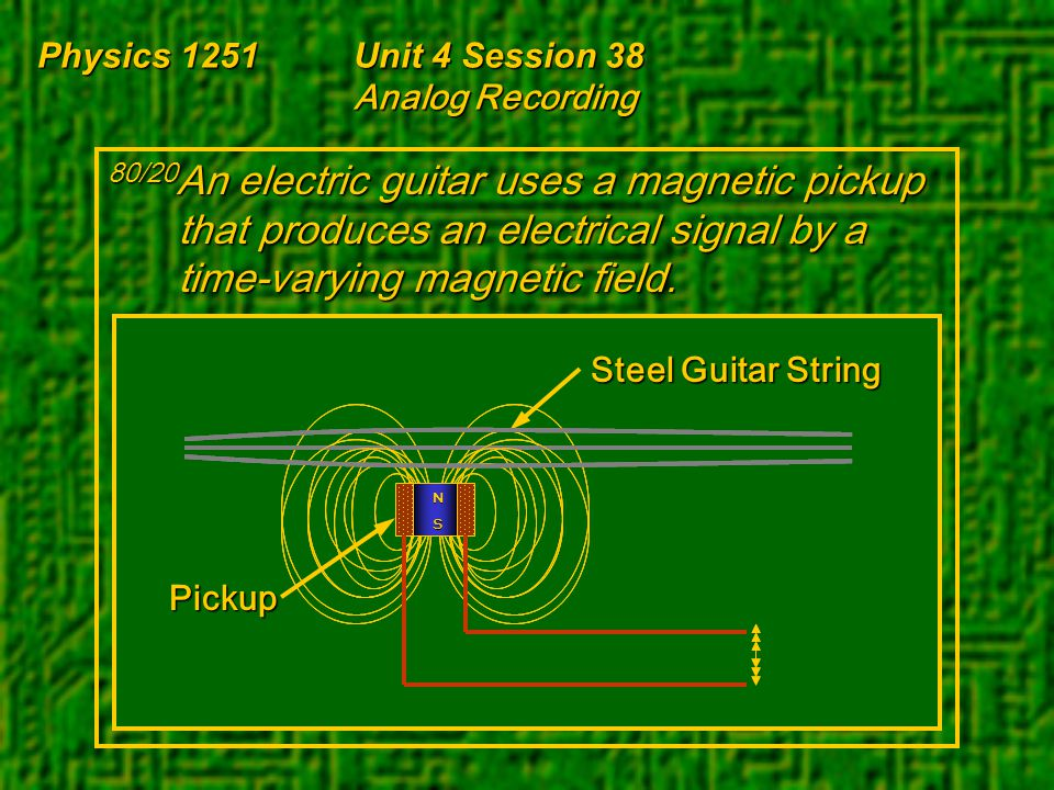 Physics 1251Unit 4 Session 38 Analog Recording 80/20 An electric guitar uses a magnetic pickup that produces an electrical signal by a time-varying ma