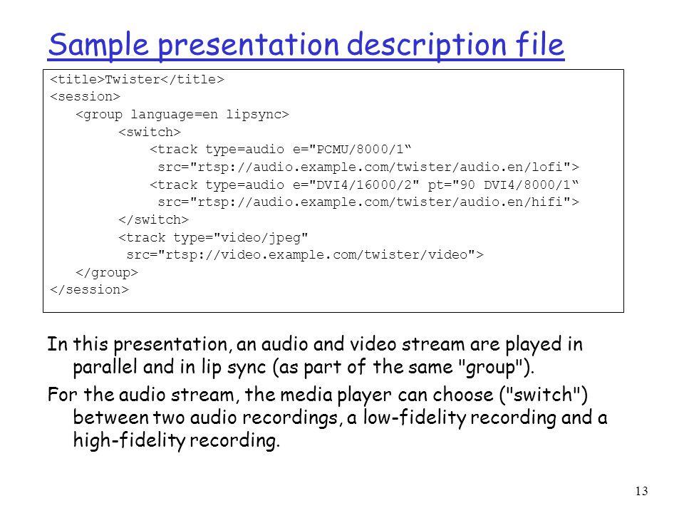 13 Sample presentation description file Twister <track type=audio e=