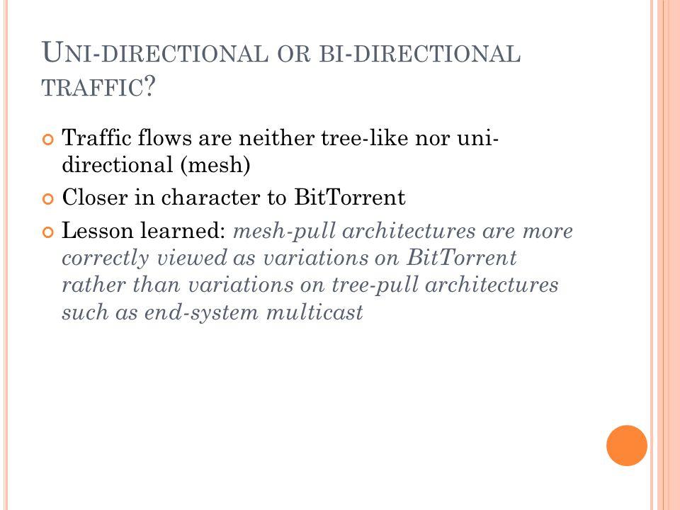 U NI - DIRECTIONAL OR BI - DIRECTIONAL TRAFFIC .