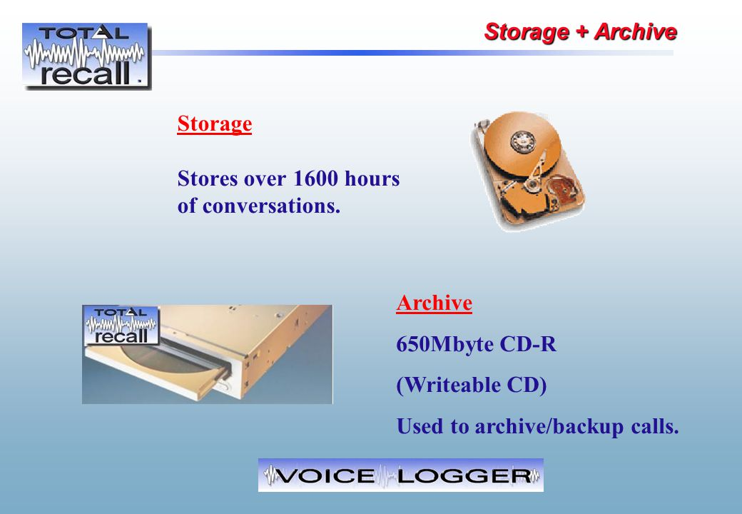 Storage Stores over 1600 hours of conversations. Archive 650Mbyte CD-R (Writeable CD) Used to archive/backup calls. Storage + Archive