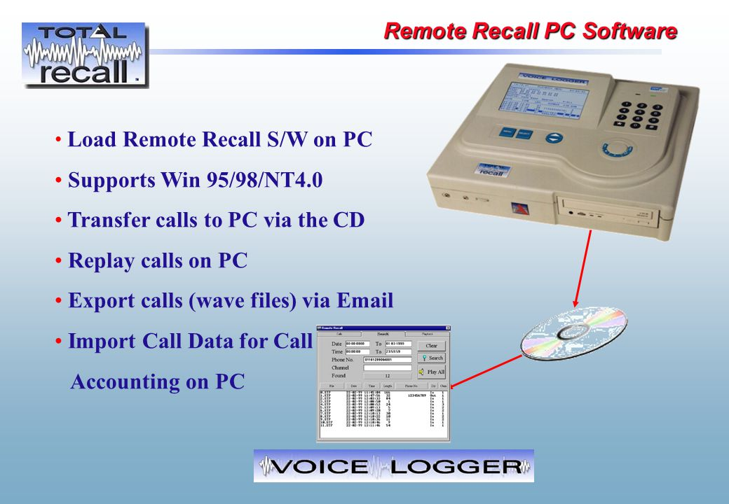 Load Remote Recall S/W on PC Supports Win 95/98/NT4.0 Transfer calls to PC via the CD Replay calls on PC Export calls (wave files) via Email Import Ca
