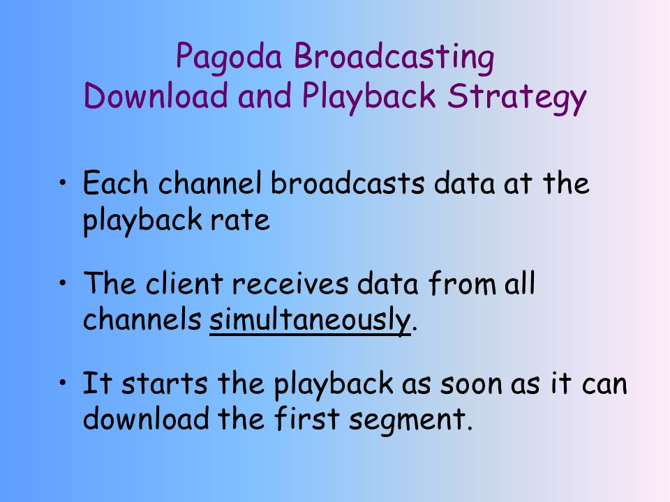 Pagoda Broadcasting Download and Playback Strategy Each channel broadcasts data at the playback rate The client receives data from all channels simultaneously.