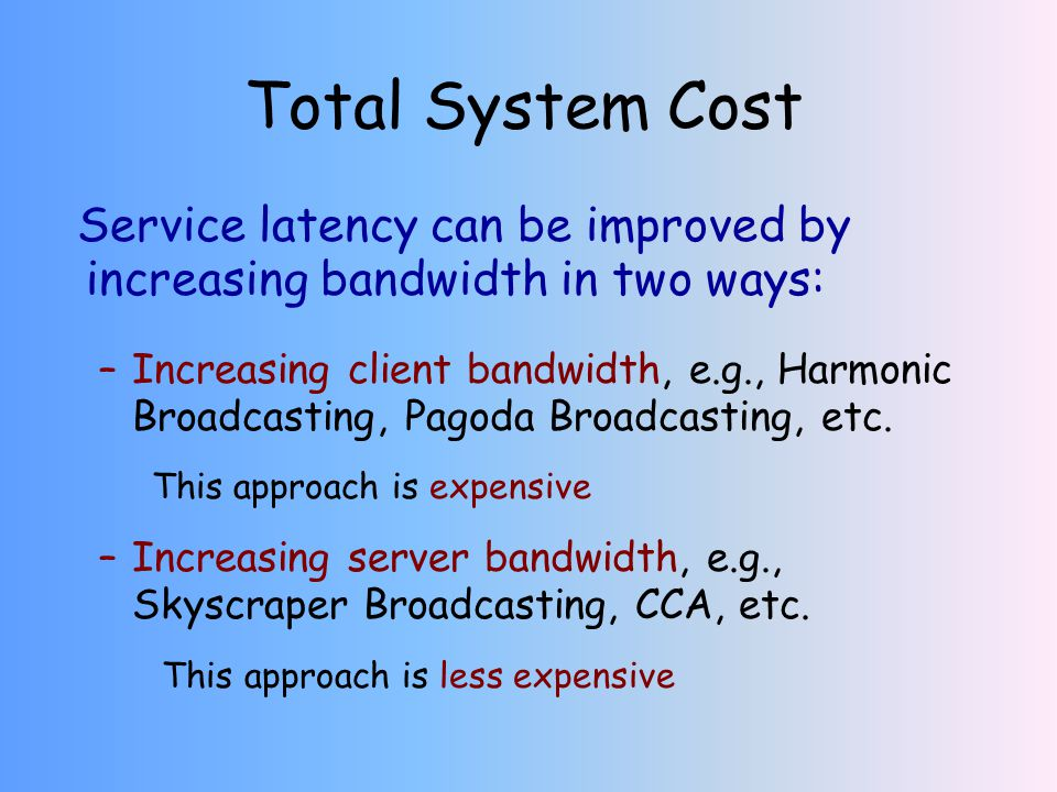 Total System Cost Service latency can be improved by increasing bandwidth in two ways: –Increasing client bandwidth, e.g., Harmonic Broadcasting, Pagoda Broadcasting, etc.