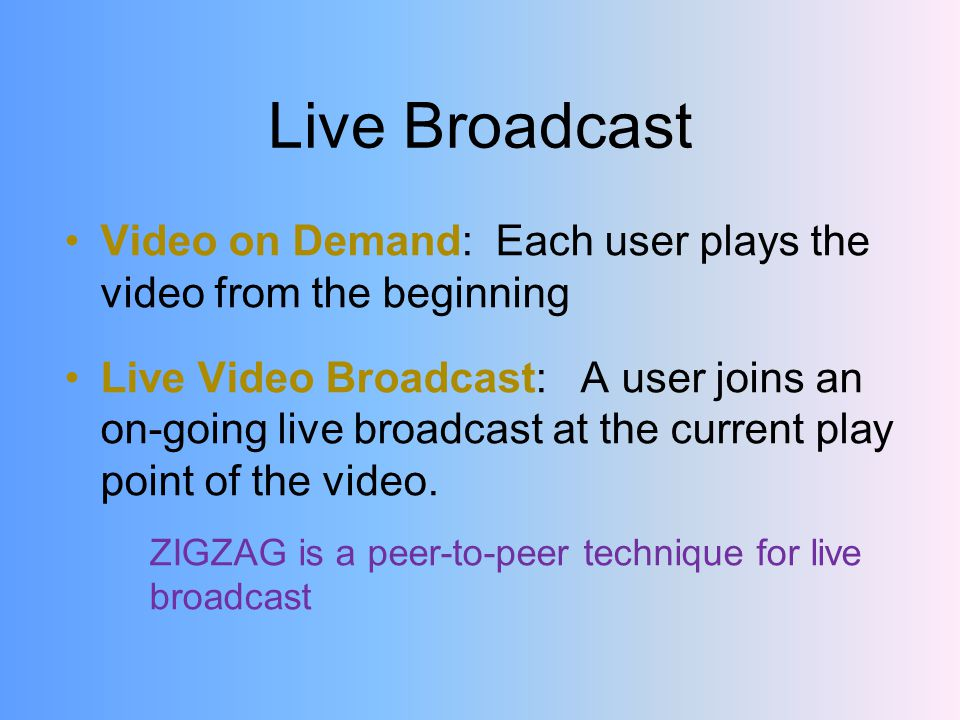 Live Broadcast Video on Demand: Each user plays the video from the beginning Live Video Broadcast: A user joins an on-going live broadcast at the current play point of the video.