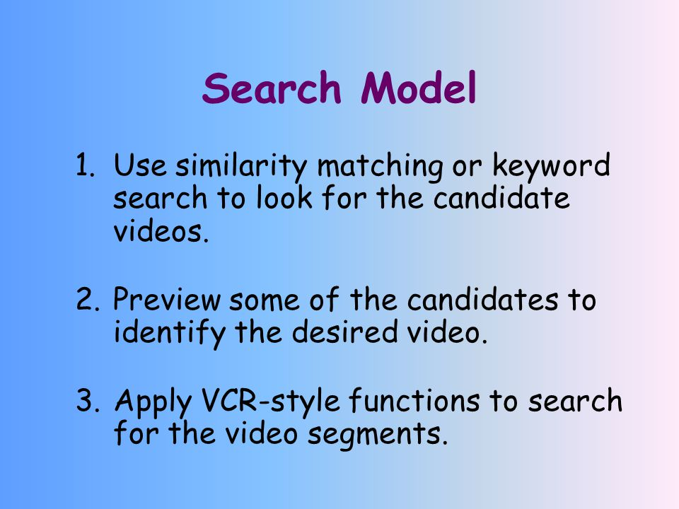 Search Model 1.Use similarity matching or keyword search to look for the candidate videos.