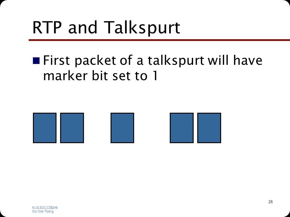 NUS.SOC.CS5248 Ooi Wei Tsang 26 RTP and Talkspurt First packet of a talkspurt will have marker bit set to 1