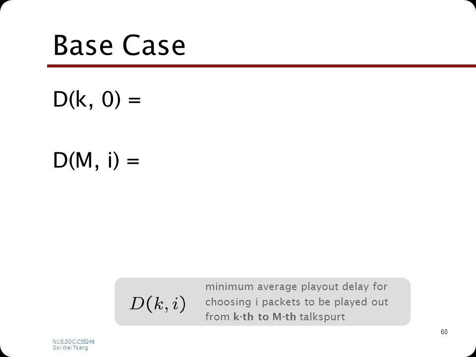 NUS.SOC.CS5248 Ooi Wei Tsang 60 Base Case D(k, 0) = D(M, i) = minimum average playout delay for choosing i packets to be played out from k-th to M-th talkspurt