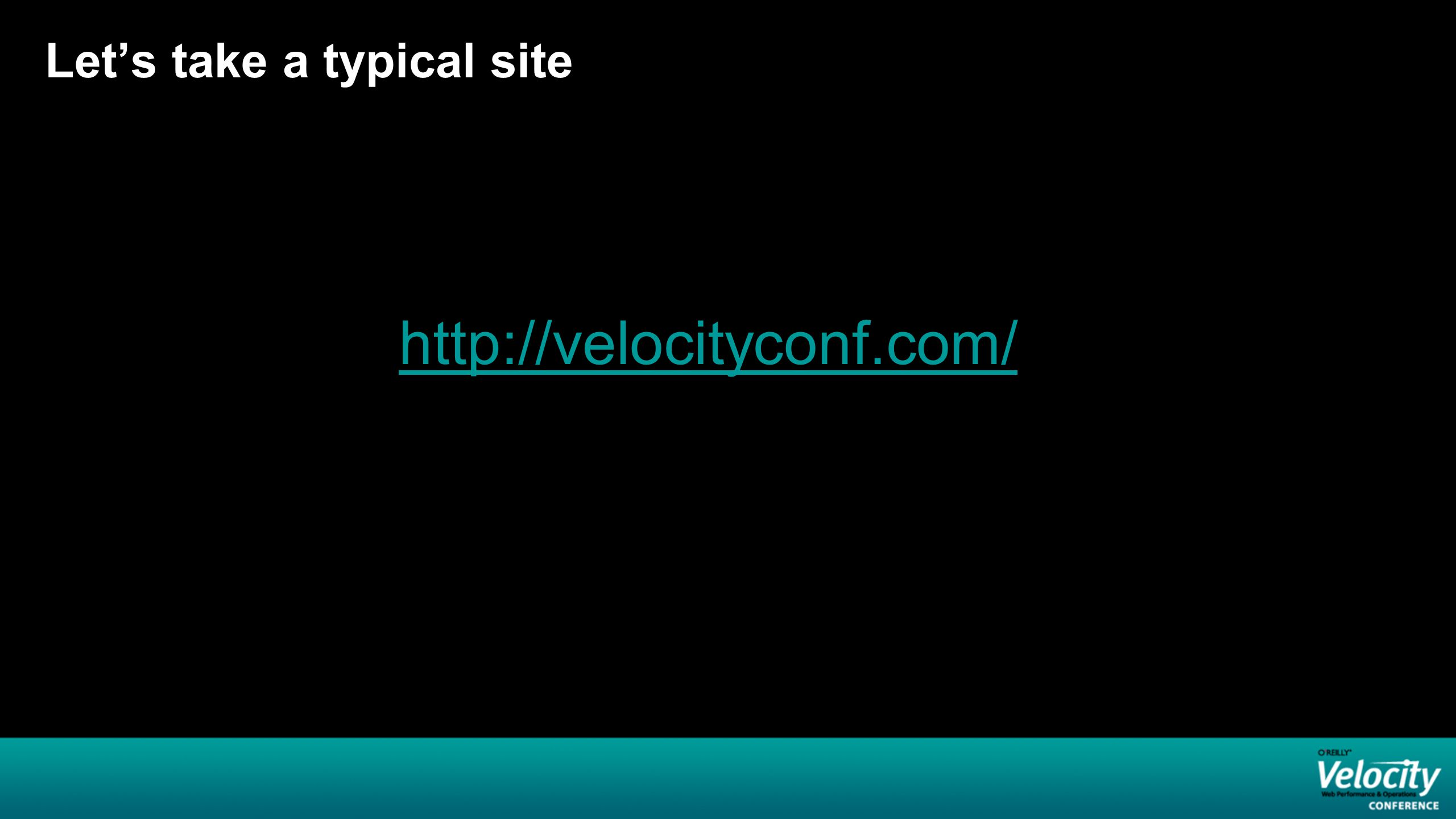 Let's take a typical site http://velocityconf.com/