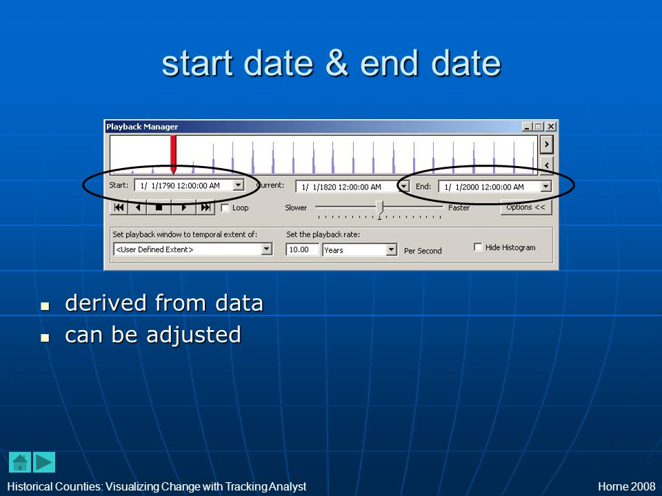 start date & end date derived from data derived from data can be adjusted can be adjusted Historical Counties: Visualizing Change with Tracking AnalystHorne 2008