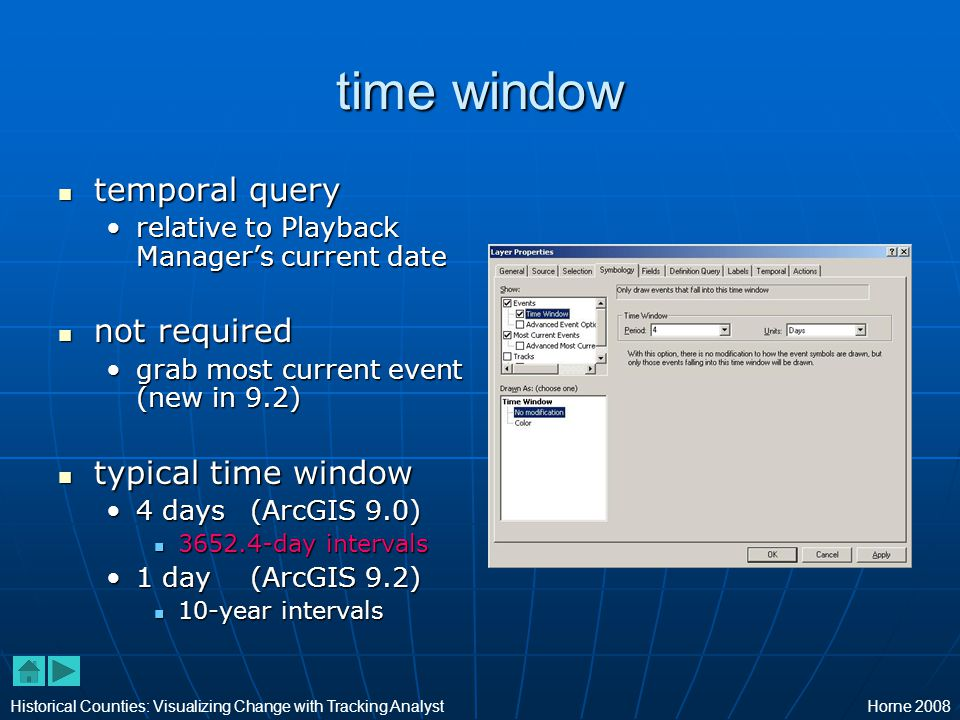 time window temporal query temporal query relative to Playback Manager's current daterelative to Playback Manager's current date not required not required grab most current event (new in 9.2)grab most current event (new in 9.2) typical time window typical time window 4 days (ArcGIS 9.0)4 days (ArcGIS 9.0) 3652.4-day intervals 3652.4-day intervals 1 day (ArcGIS 9.2)1 day (ArcGIS 9.2) 10-year intervals 10-year intervals Historical Counties: Visualizing Change with Tracking AnalystHorne 2008
