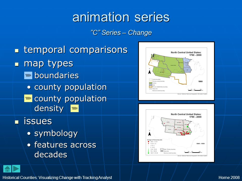 animation series C Series – Change temporal comparisons temporal comparisons map types map types boundariesboundaries county populationcounty population county population densitycounty population density issues issues symbologysymbology features across decadesfeatures across decades Historical Counties: Visualizing Change with Tracking AnalystHorne 2008