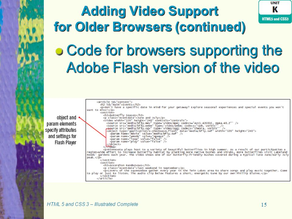 Adding Video Support for Older Browsers (continued) HTML 5 and CSS 3 – Illustrated Complete 15 Code for browsers supporting the Adobe Flash version of the video