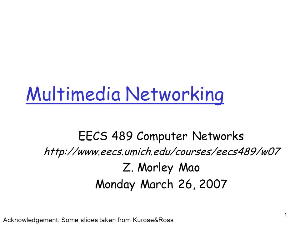 22 User Control of Streaming Media: RTSP HTTP r Does not target multimedia content r No commands for fast forward, etc.