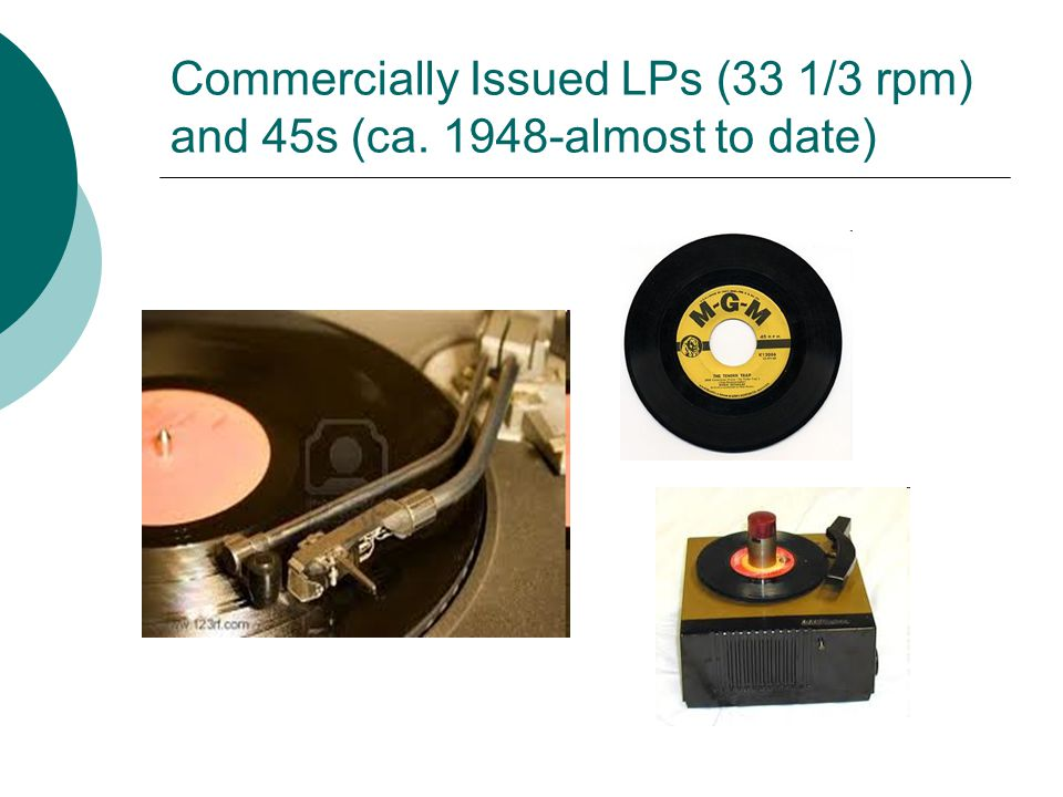 Commercially Issued LPs (33 1/3 rpm) and 45s (ca. 1948-almost to date)