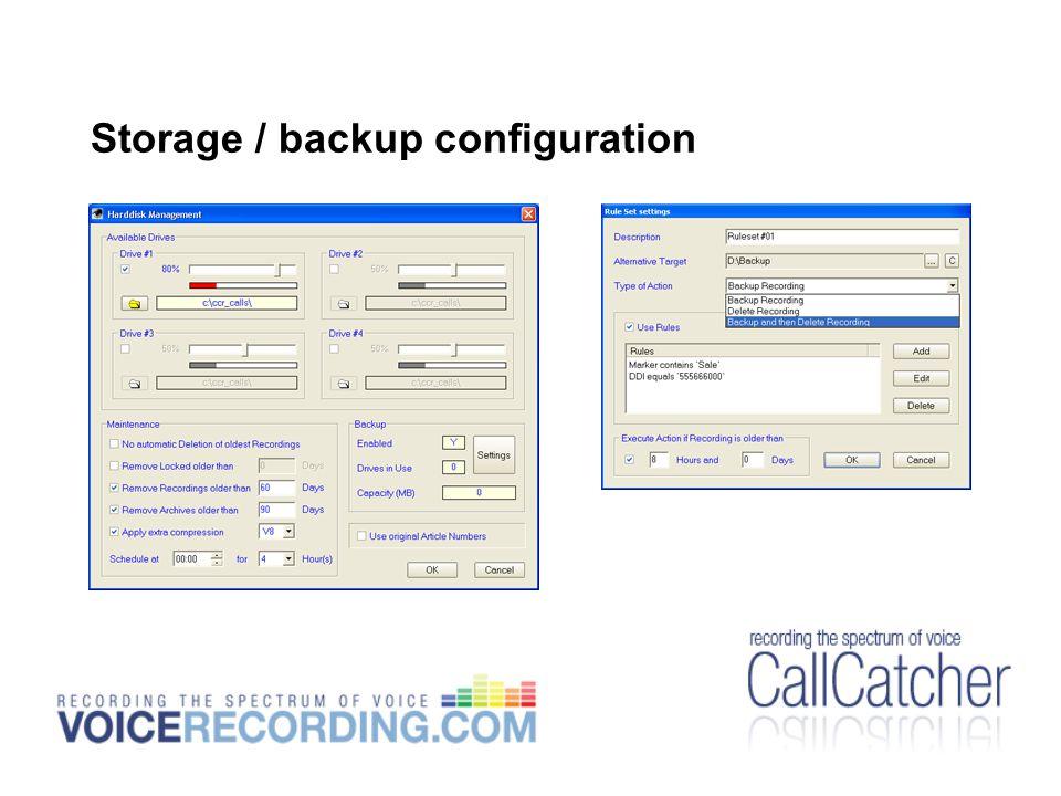 Storage / backup configuration