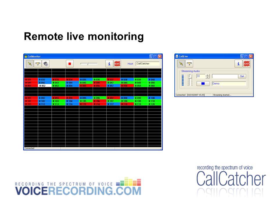 Remote live monitoring