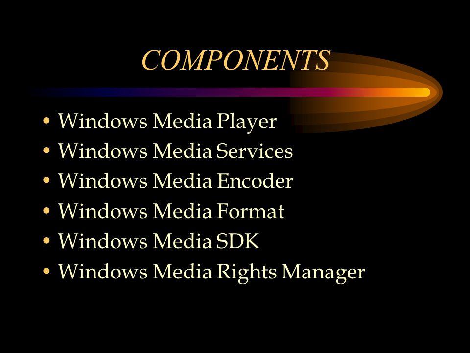 COMPONENTS Windows Media Player Windows Media Services Windows Media Encoder Windows Media Format Windows Media SDK Windows Media Rights Manager