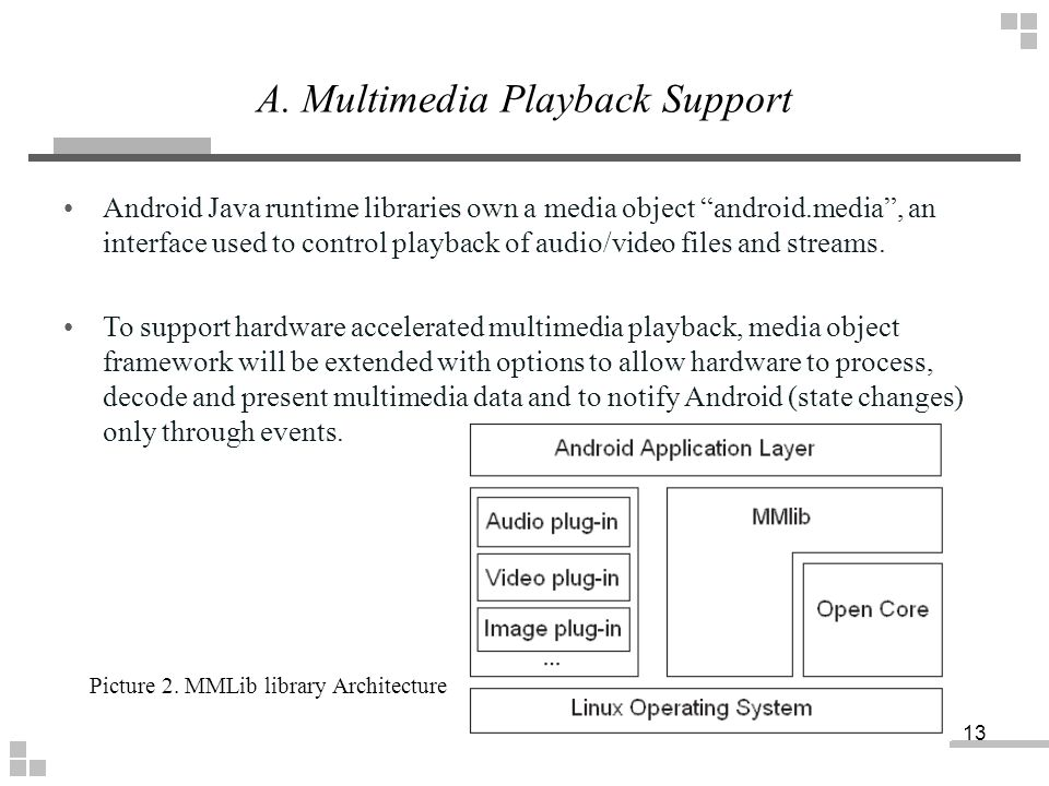"""Android Java runtime libraries own a media object """"android.media"""", an interface used to control playback of audio/video files and streams. To support"""
