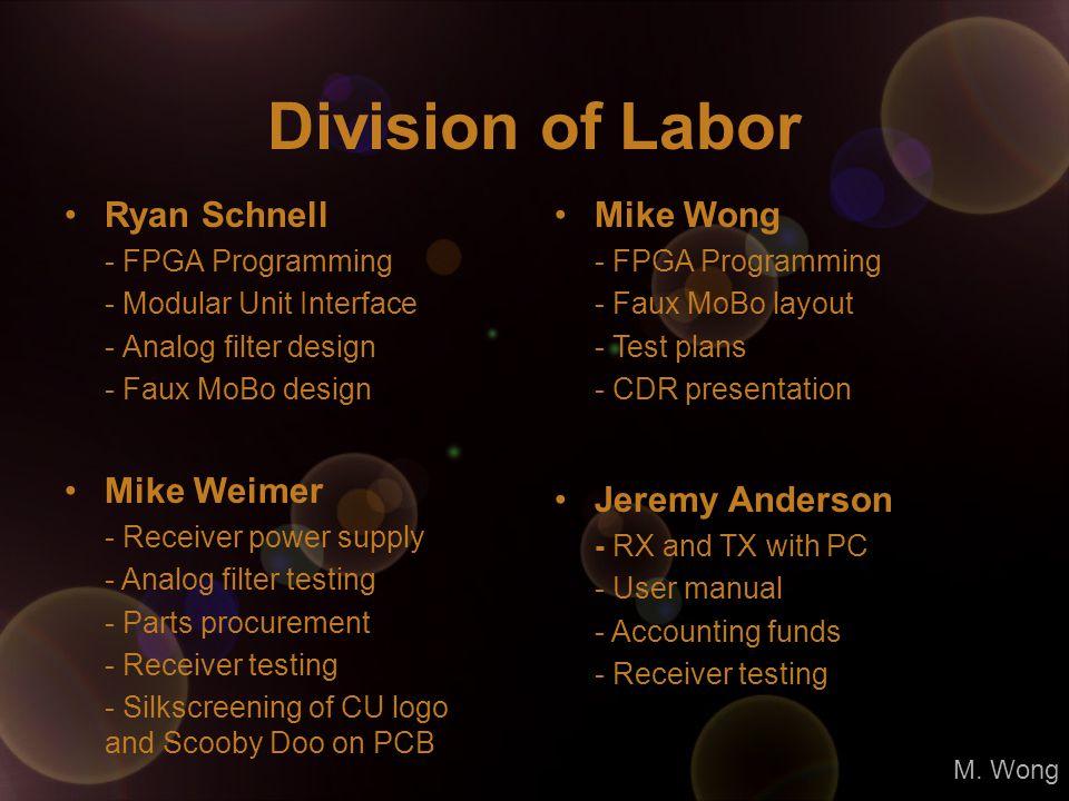 Division of Labor Ryan Schnell - FPGA Programming - Modular Unit Interface - Analog filter design - Faux MoBo design Mike Wong - FPGA Programming - Fa