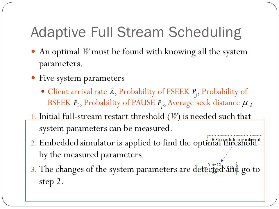 Adaptive Full Stream Scheduling An optimal W must be found with knowing all the system parameters.