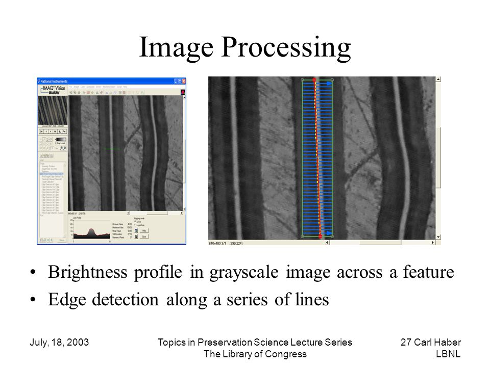 July, 18, 2003Topics in Preservation Science Lecture Series The Library of Congress 27 Carl Haber LBNL Image Processing Brightness profile in grayscal