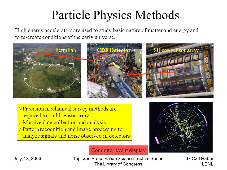 July, 18, 2003Topics in Preservation Science Lecture Series The Library of Congress 37 Carl Haber LBNL Particle Physics Methods >Precision mechanical