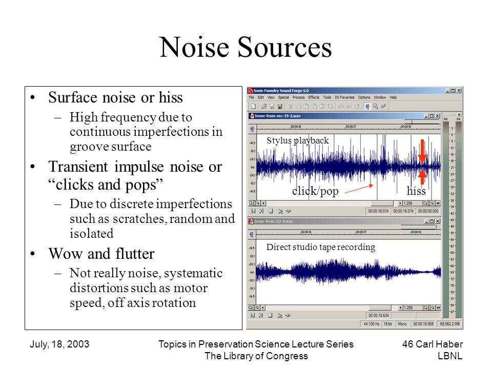 July, 18, 2003Topics in Preservation Science Lecture Series The Library of Congress 46 Carl Haber LBNL Noise Sources Surface noise or hiss –High frequ