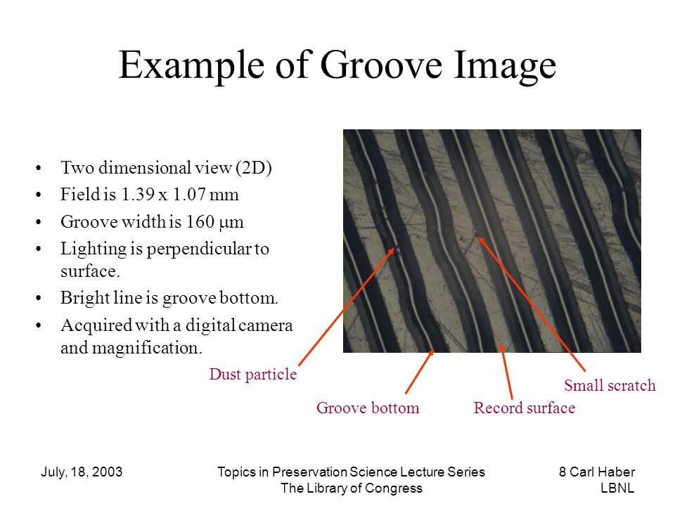 July, 18, 2003Topics in Preservation Science Lecture Series The Library of Congress 8 Carl Haber LBNL Example of Groove Image Two dimensional view (2D