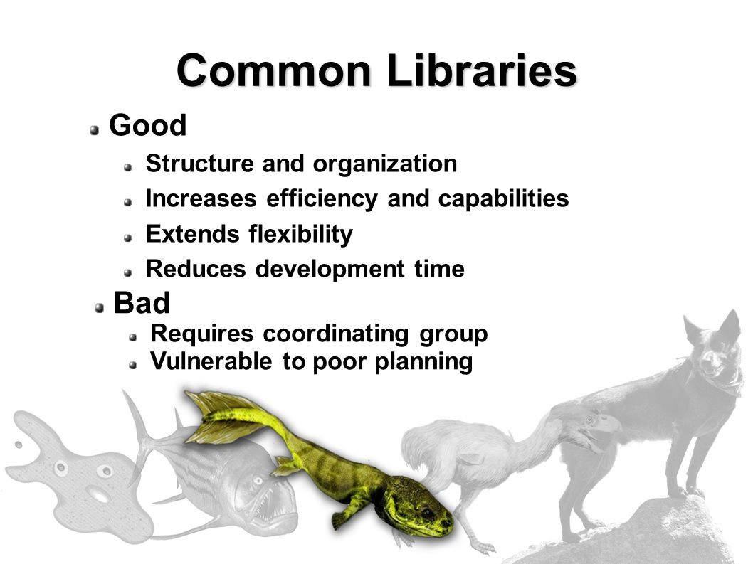 Good Structure and organization Increases efficiency and capabilities Extends flexibility Reduces development time Bad Requires coordinating group Vulnerable to poor planning Common Libraries