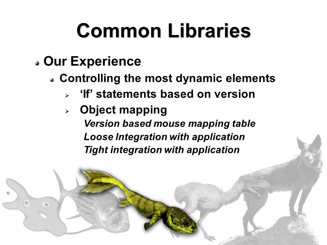 Our Experience Controlling the most dynamic elements  'If' statements based on version  Object mapping Version based mouse mapping table Loose Integration with application Tight integration with application Common Libraries