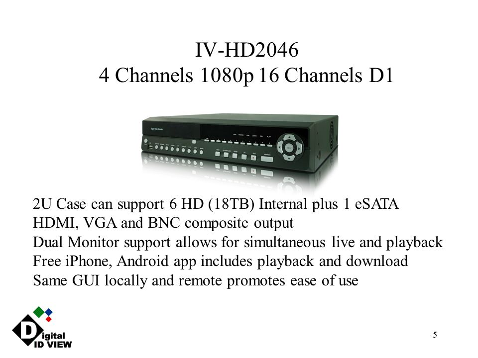 5 IV-HD2046 4 Channels 1080p 16 Channels D1 2U Case can support 6 HD (18TB) Internal plus 1 eSATA HDMI, VGA and BNC composite output Dual Monitor supp