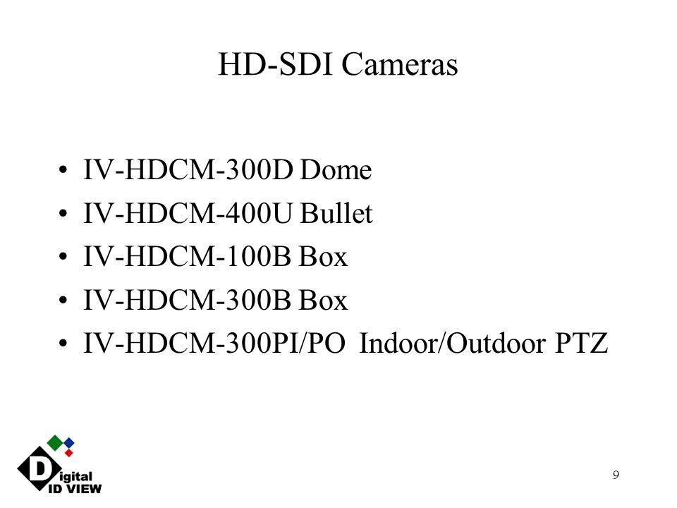 9 HD-SDI Cameras IV-HDCM-300D Dome IV-HDCM-400U Bullet IV-HDCM-100B Box IV-HDCM-300B Box IV-HDCM-300PI/PO Indoor/Outdoor PTZ