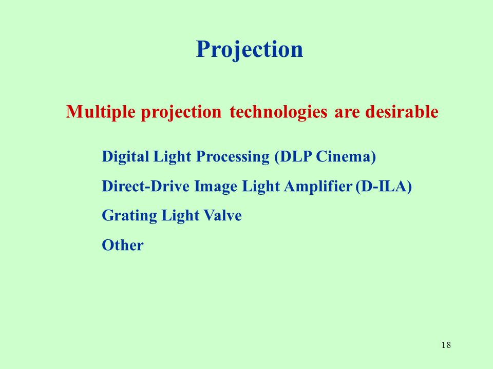 18 Digital Light Processing (DLP Cinema) Direct-Drive Image Light Amplifier (D-ILA) Grating Light Valve Other Projection Multiple projection technologies are desirable