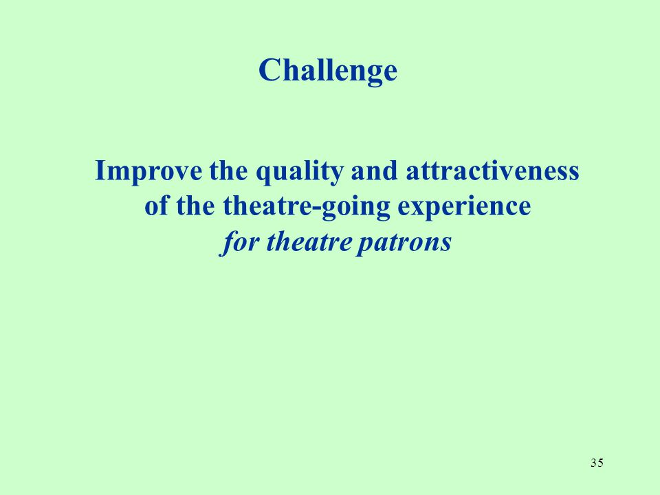 35 Improve the quality and attractiveness of the theatre-going experience for theatre patrons Challenge