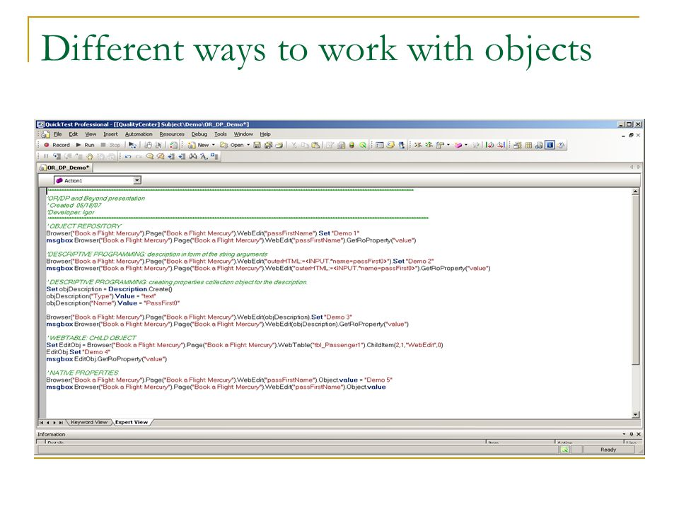 Different ways to work with objects