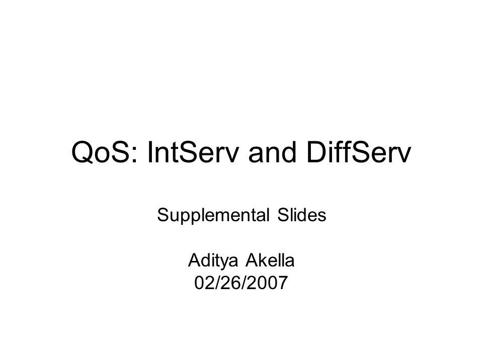 QoS: IntServ and DiffServ Supplemental Slides Aditya Akella 02/26/2007