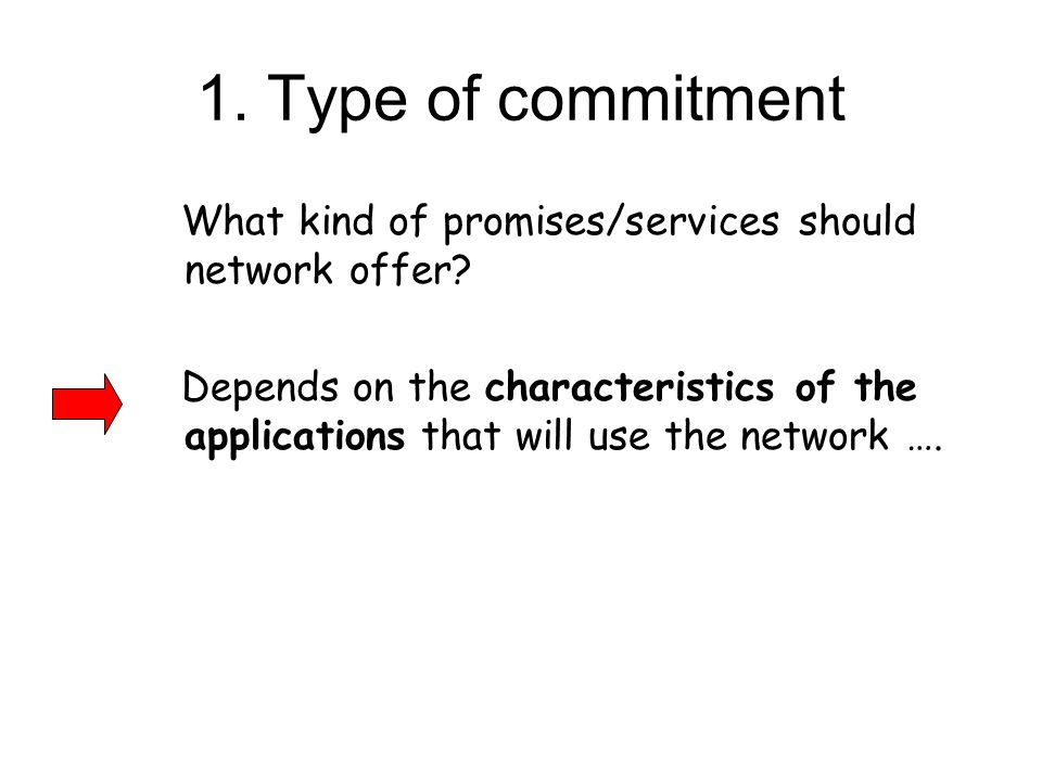1. Type of commitment What kind of promises/services should network offer.