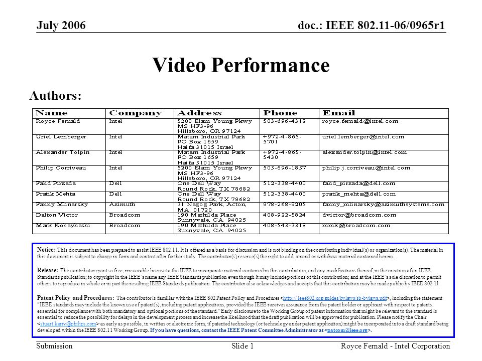 doc.: IEEE 802.11-06/0965r1 Submission July 2006 Royce Fernald - Intel CorporationSlide 1 Video Performance Notice: This document has been prepared to assist IEEE 802.11.